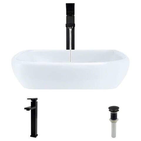 "Rene R2-5011-W-R9-7003 16-1/2"" Porcelain Vessel Bathroom Sink with"