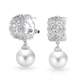 Bling Jewelry CZ Half Hoop Omega Earrings Imitation Pearl Rhodium Plated Brass - White