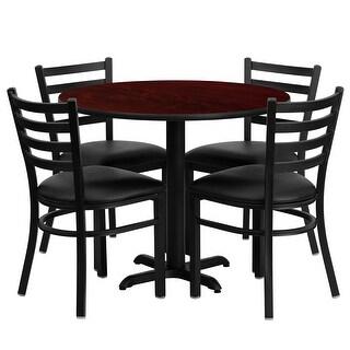 "Dyersburg 5pcs Table Set Round 36"" Mahogany X-Base, Black Chair"