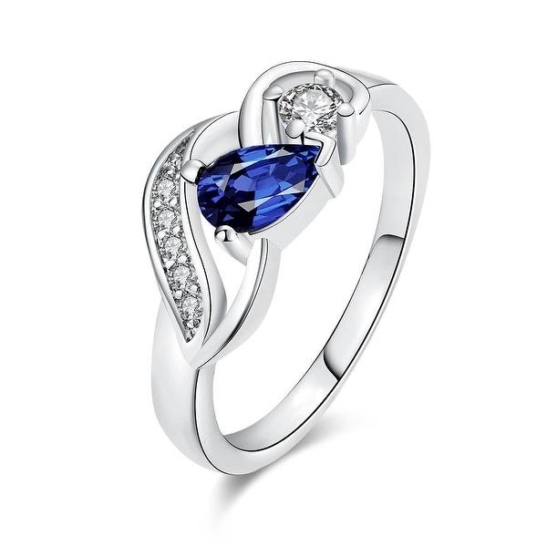 Petite Saphire Gem White Gold Ring