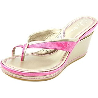 Cole Haan Air Caprice Thong Women Open Toe Patent Leather Pink Wedge Sandal