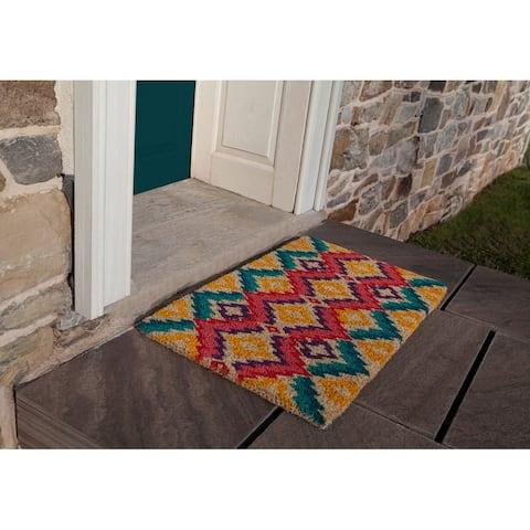 Williamsburg Flame Stitch Handwoven Coconut Fiber Doormat
