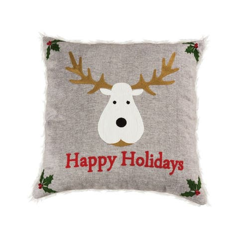 Happy Holidays Grey Pillow with a Reindeer 20x20-inch Pillow Cover Only Chateau Grey/Red/Snow Colors
