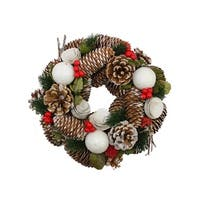 "10"" Frosted Pine Cone  Twigs and Berries Artificial Christmas Wreath - Unlit"