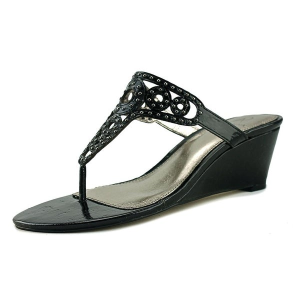 Adrianna Papell Ceci Women Open Toe Leather Black Wedge Sandal