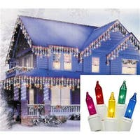 Shimmering Multi-Color Mini Icicle Christmas Lights - White Wire