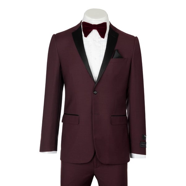 Sienna, Slim Fit, Burgundy, Pure Wool Tuxedo by Tiglio Luxe