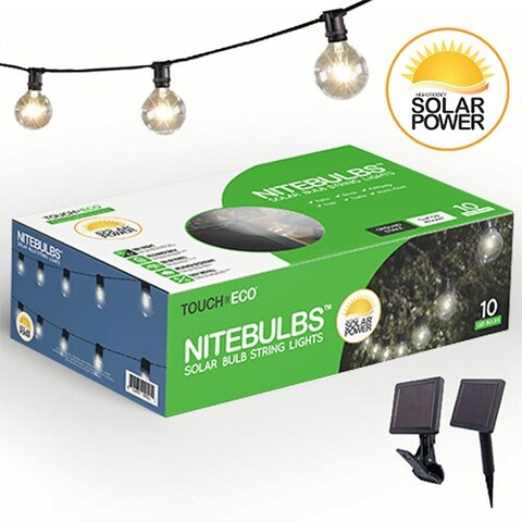 NITEBULBS Solar Patio String Lights Edison style 10 count bulbs