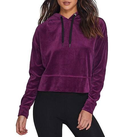 Calvin Klein Women's Cropped Velour Hoodie Merlot Size Extra Large - Purple - X-Large