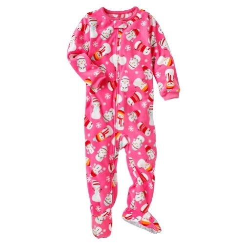 Shop Carter s Little Girls  Pink Snowman Footed Fleece Pajamas- 4T - Free  Shipping On Orders Over  45 - Overstock - 18304448 8c0e21d46
