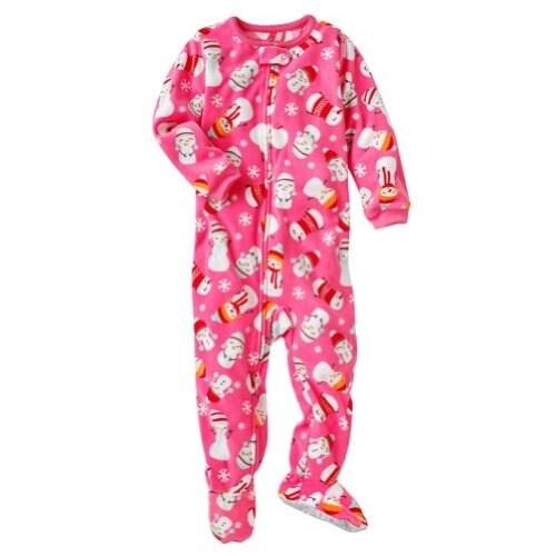 70d8097e8 Shop Carter s Little Girls  Pink Snowman Footed Fleece Pajamas- 4T ...