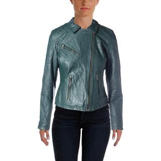 Doma Womens Lambskin Asymmetric Leather Blazer - M
