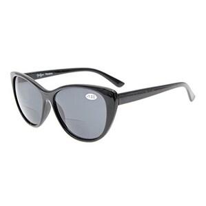 Eyekepper Cat-eye Style Womens Bifocal Sunglasses Grey Lens +2.5