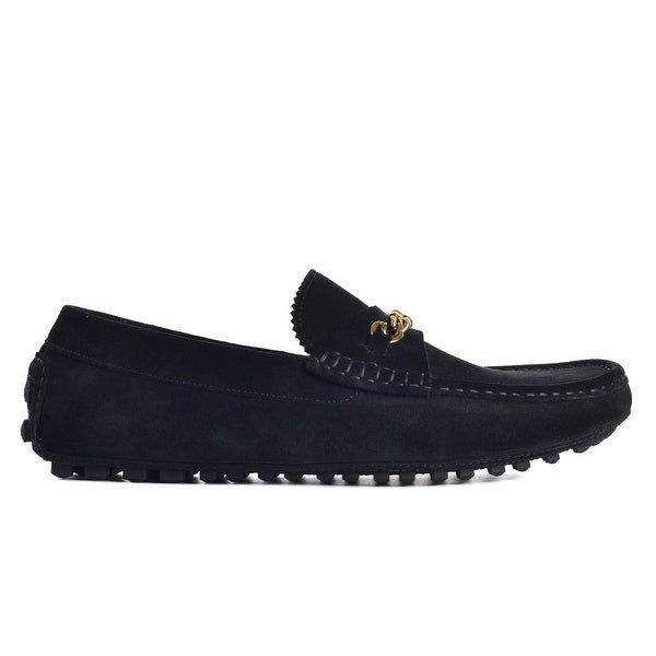 ee38627d5 Shop Tom Ford Mens Black Suede York Chain Driver Loafers - Free ...