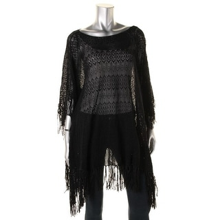 Lauren Ralph Lauren Womens Crochet Fringe Poncho Sweater