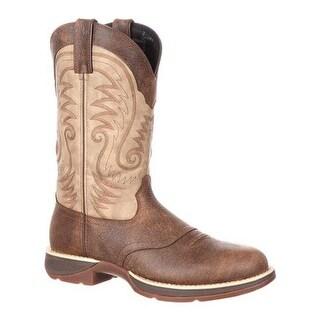 """Durango Boot Men's DDB0106 Rebel 12"""" Waterproof Western Saddle Boot Distressed Brown/Tan Full Grain Leather"""