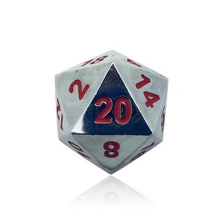 Norse Foundry 45mm D20 Boulder Dice - Lycanthrope Silver - multi