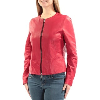 ANNE KLEIN $329 Womens New 1202 Red Zip Up Casual Jacket 8 B+B