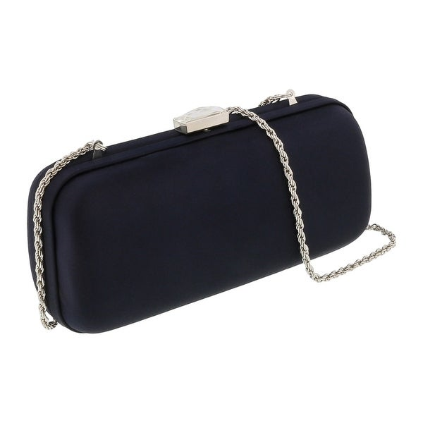Scheilan Black Satin Box Clutch - 7-3-2