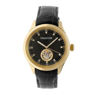 Heritor Crew Men's Automatic Watch, Genuine Leather Band, Sapphire-Coated Crystal