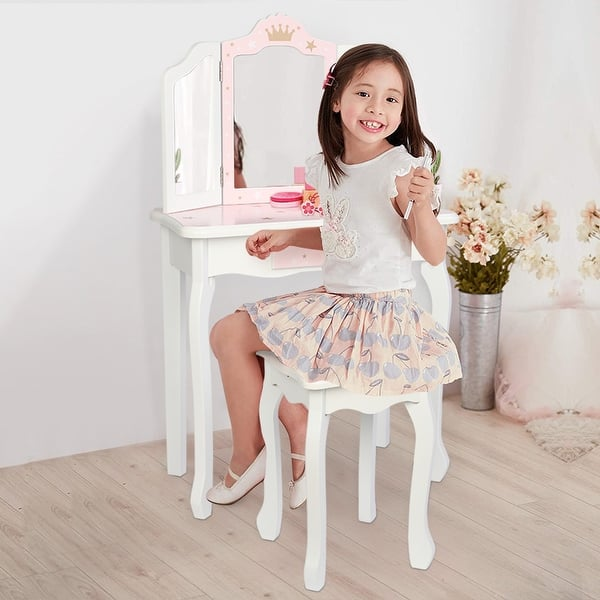 Kids Vanity Set Pretend Beauty Make Up Dressing Play Set for Girls Best Gift Blue Childrens Dressing Table Three Foldable Mirror//Chair//Single Drawer
