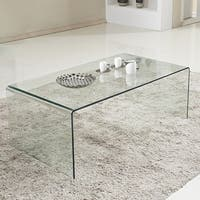 Costway Tempered Glass Coffee Table Accent Cocktail Side Table Living Room Furniture - Clear