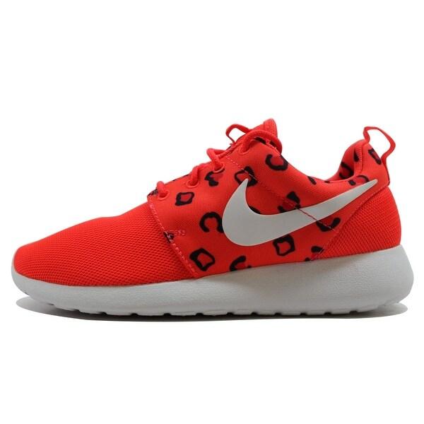 Nike Women's Rosherun Print Bright Crimson/White-Hot Lava Leopard 599432-603 Size 5.5