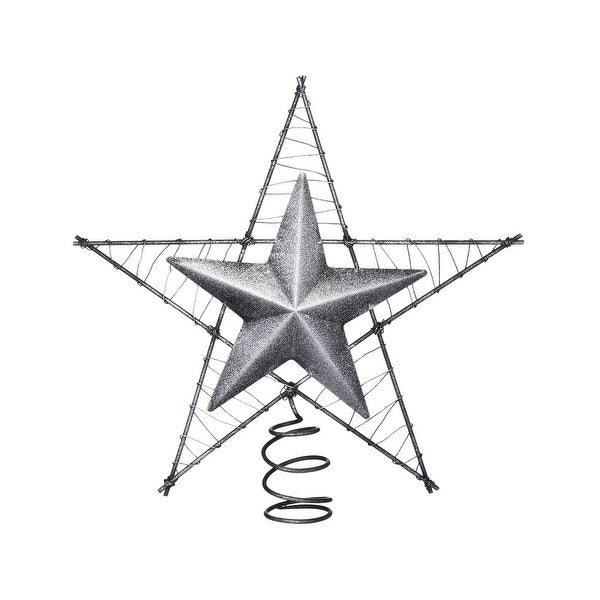 Tough-1 Tree Topper Rustic Western Raised Star Glitter