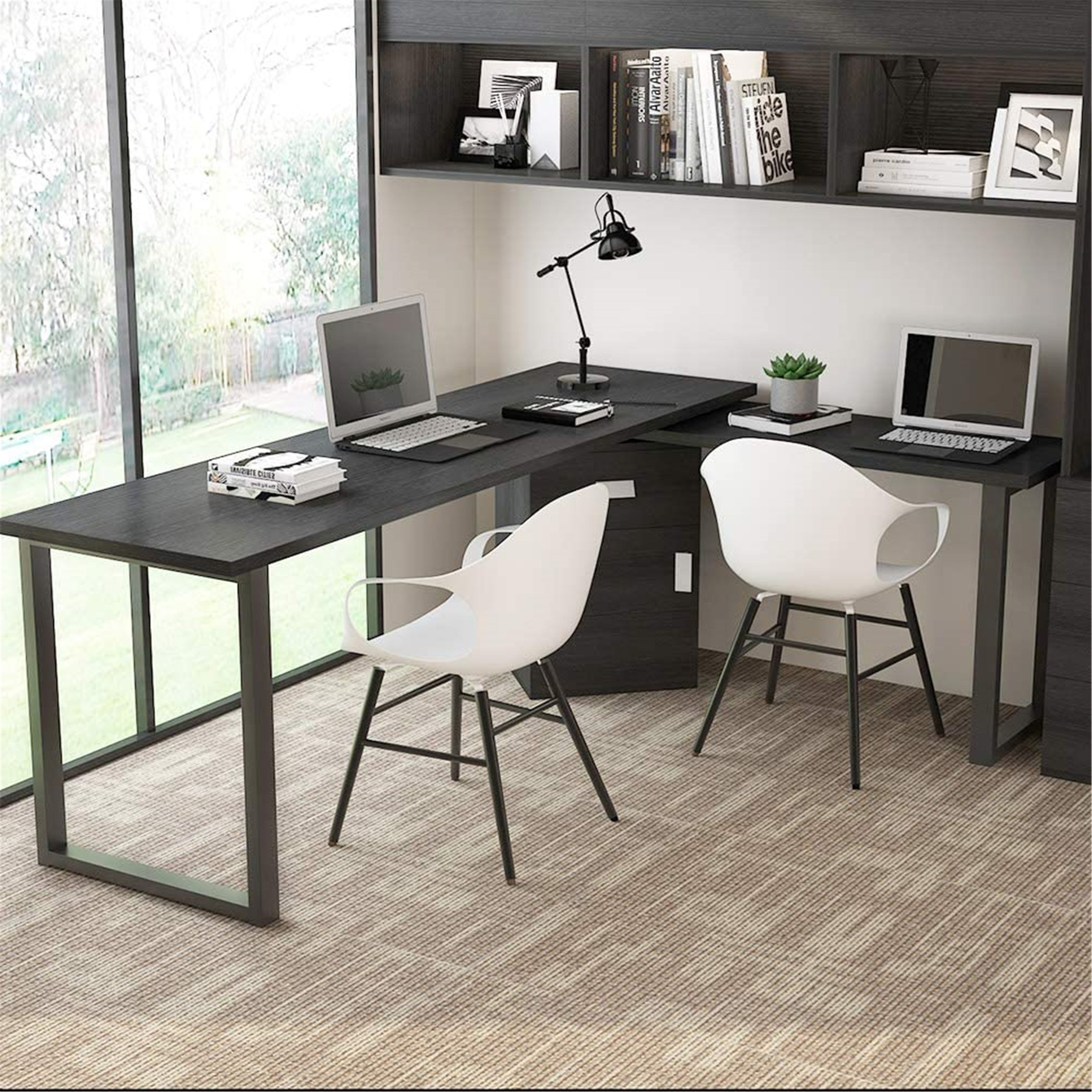55 Inches Rotating L Shaped Computer Desk With File Cabinet Overstock 31833462