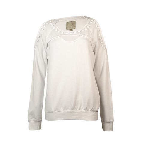Guess Women's Long-sleeve Studded Cutout Sweatshirt - True White