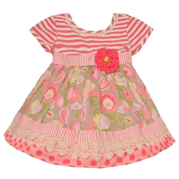 076425d6f Shop Counting Daisies Baby Girls Fuchsia Stripe Floral Accent Casual Dress  - Free Shipping On Orders Over $45 - Overstock - 28300519