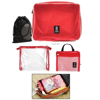 JAVOedge 3 Pack Mesh Red Top Packing Cubes for Luggage, Storage (Small, Medium, Large)