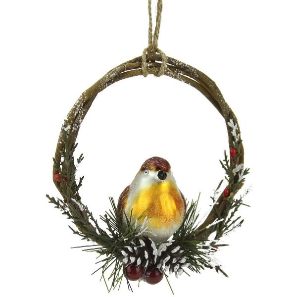 "4"" Brown Bird Sitting in a Twig, Berry and Pine Cone Wreath Christmas Ornament"