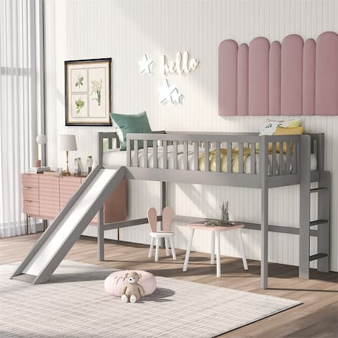 Harper & Bright Designs Twin Low Loft Bed with Ladder and Slide