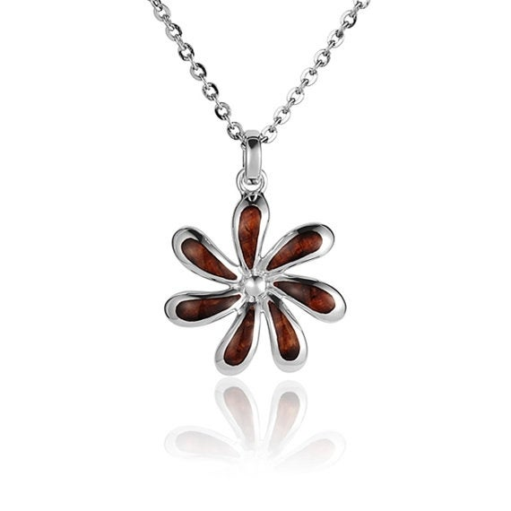 "Gardenia Necklace Koa Wood Sterling Silver Flower Pendant 18"" Chain"