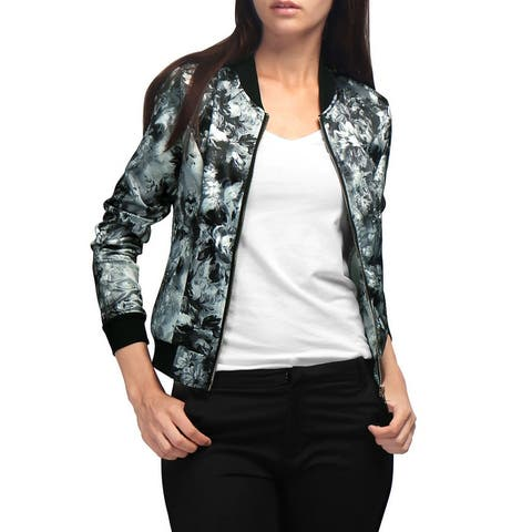 Unique Bargains Women Stand Collar Zip Up Floral Prints Bomber Jacket