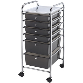 "Storage Cart W/6 Drawers-13""X32""X15.5"" Smoke"
