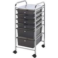 """Storage Cart W/6 Drawers-13""""X32""""X15.5"""" Smoke"""