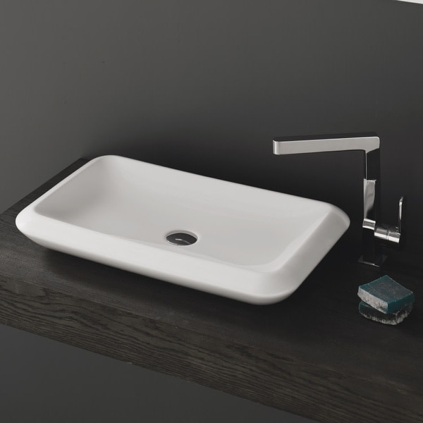 "Nameeks 075700-U CeraStyle More 26"" Ceramic Vessel Bathroom Sink - White / No Hole"