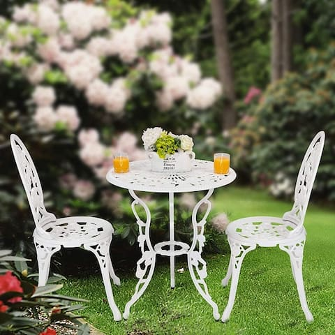 3-Piece Aluminum Outdoor Patio Rose Sets With Table