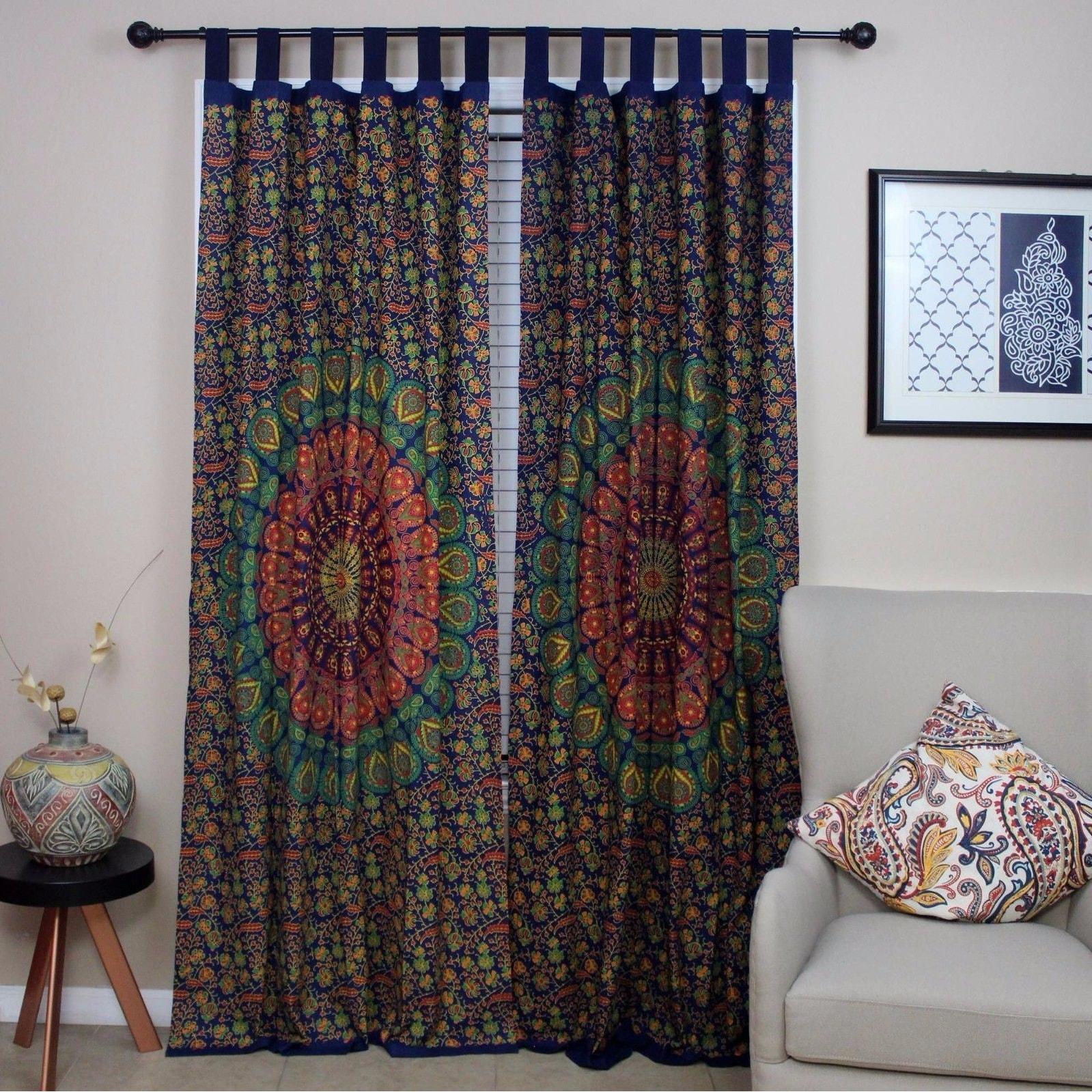 Handmade Floral Mandala Peacock 100% Cotton Tab Top Curtain Drape Panel 44x88 Inches - 44 x 88 - Thumbnail 0
