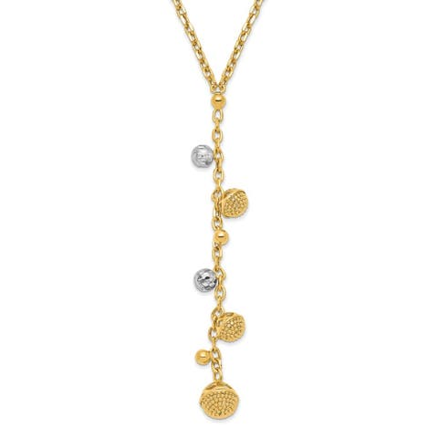 14K Yellow Gold and White Rhodium Diamond-cut Y-drop with 1-inch Extension Necklace by Versil