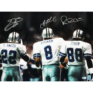 Troy Aikman Emmitt Smith and Michael Irvin Triple Dallas Cowboys 16x20 Photo