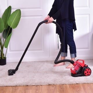 Costway Vacuum Cleaner Canister Bagless Cord Rewind Carpet Hard Floor w HEPA Filtration