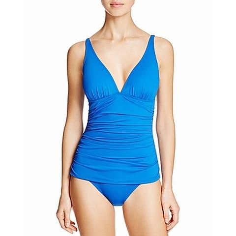 Tommy Bahama Blue Womens Size 14 Shirred V-Neck One-Piece Swimsuit