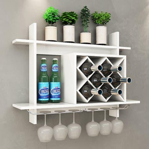 Gymax Wall Mount Wine Rack w/ Glass Holder & Storage Shelf Organizer