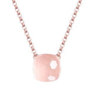 Vedantti Magic Honeycomb Cut Rose Quartz Gemstone Diva Solitaire Necklace