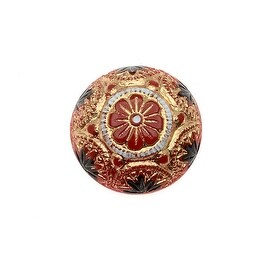 Czech Glass, Engraved Round Cabochons with Gilded Floral Motif 14mm, 2 Pieces, Gold/Jet on Red
