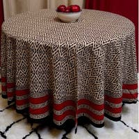 "Handmade 100% Cotton Dabu Block Print Tablecloth 90"" Round Beige Tan"