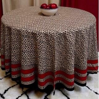 "Handmade 100% Cotton Dabu Block Print Tablecloth 90"" Round Beige Tan"